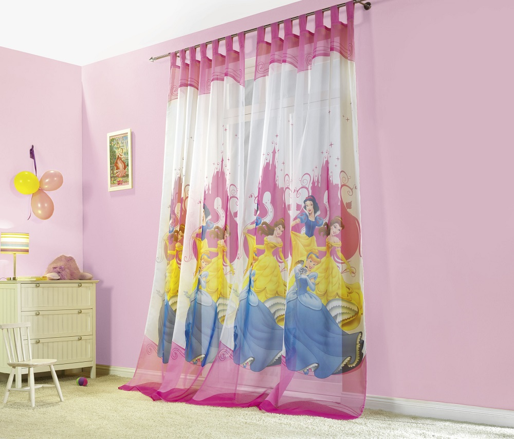 kinderzimmer princess prinzessin disney vorhang gardinen vorhangschals. Black Bedroom Furniture Sets. Home Design Ideas